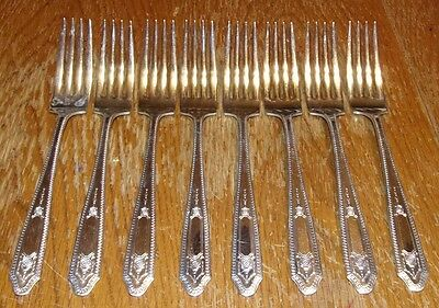 VTG Monarch Silver Plate Flatware 1935 Martinique Dinner Forks 8pcs