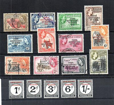 Ghana 1957-58 Independence Issues. Scott# 5-13, 25-27, J1-5. Mnh, Used & Hinged.