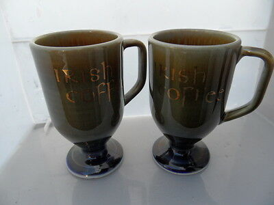 WADE IRISH  Porcelain     Pair of Coffee Mugs with Gilt Script   GOOD CONDITION