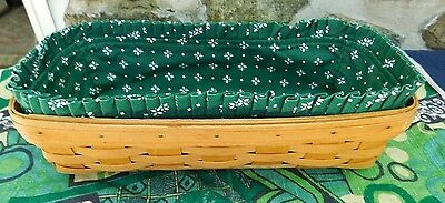 Longaberger rectangle Basket JBH 1997 green brick fabric liner