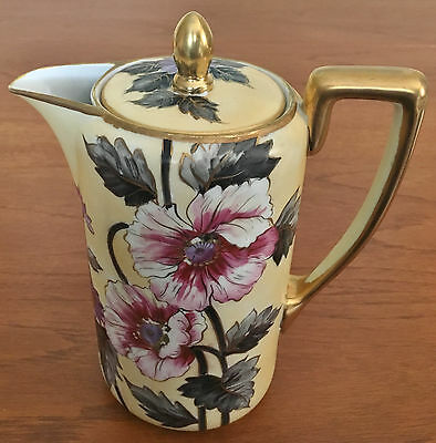Antique Noritake coffee or chocolate pot, pale yellow with big flowers gold trim