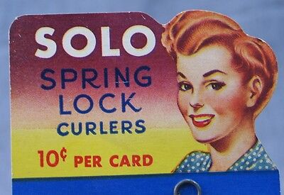 Vintage New Old Stock -- Solo Spring Lock Curlers -- Mint on Card - Never Used