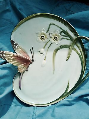 Franz Pottery Serving Plate Butterfly Fz00186 Porcelain Liberty Art Nouveau