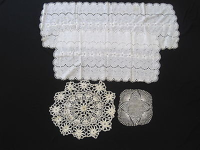 Antique Table Runners Lot Vintage Lace Doilies Crocheted Bobbin Doily 1800s -BS