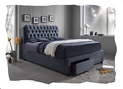 Laura Grey Fabric KING Size Bed with Storage Drawers - BRAND NEW