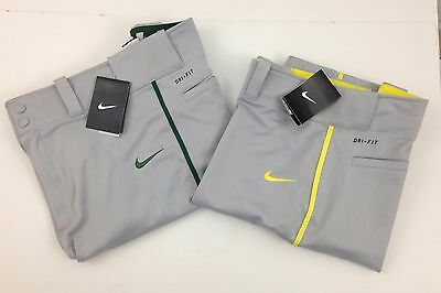 NWT Nike Swingman Baseball Pants Gray Piped Green Yellow Men's Small Med Large