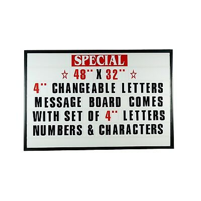 "4"" Outdoor Changeable Letter Message Board Marquee sign with Metal Frame 48""x32"""