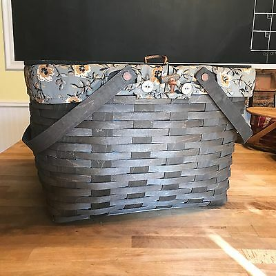 LONGABERGER - Large Picnic Basket 2009 Dark Brown Stain Liner, Protector, Shelf