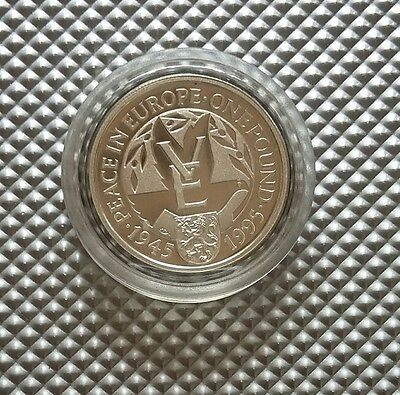 ALDERNEY £1 COIN PEACE IN EUROPE 1945-1995 SILVER PROOF with CoA  WW ll
