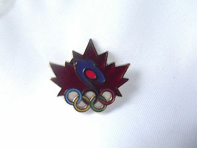 VANCOUVER 2010 Olympic Rogers Sportsnet Pin Red Maple Leaf Coloured Rings