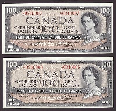2x 1954 Bank of Canada $100 consecutive notes Lawson C/J0346066-7 UNC60+