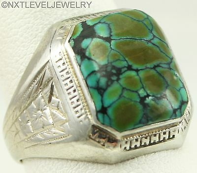Antique Deco RARE Variegated Turquoise Engraved 10k Solid White Gold Men's Ring