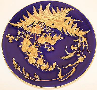1882 English Porcelain Plate Cobalt Blue & Heavy Gold Flowers