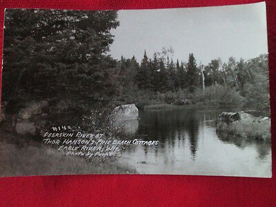 Postcard Deerskin River at Thor Hanson's Pine Beach Cottages Eagle River, Wis.