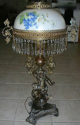 Antique Double Cherub Brass Bronze Metal GWTW Banquet Oil Lamp Hnd Painted Shade