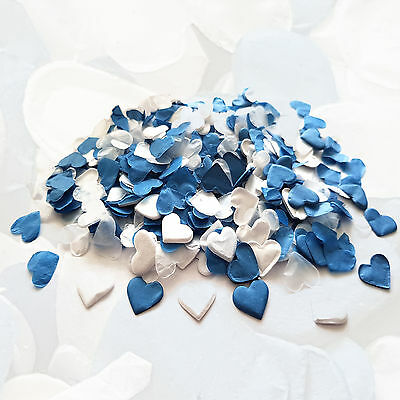 Blue & White Heart Wedding Confetti ❤ Party Table Decorations ❤ Biodegradable ❤