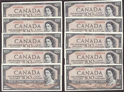 10 x 1954 Bank of Canada $100 banknotes Lawson Bouey C/J EF45 to AU50+