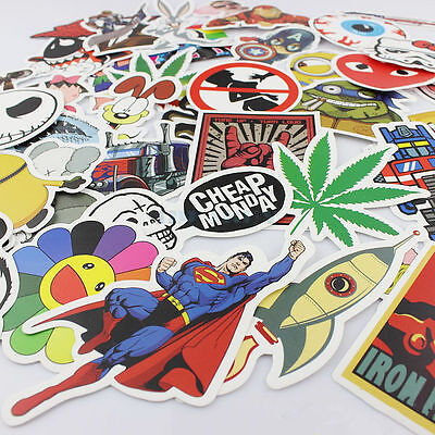 100 Random Stickers Vinyl Skateboard Guitar Travel Case sticker pack decals cool