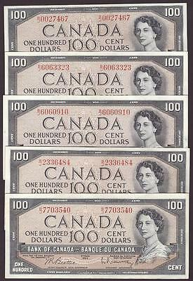 5 x 1954 Bank of Canada $100 banknotes Beattie B/J VF30 to AU50+