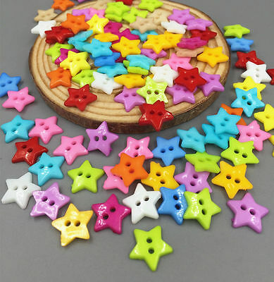 100pcs Resin Buttons Mixed Colors Sewing Scrapbooking 2 Holes Star Button 12.5mm