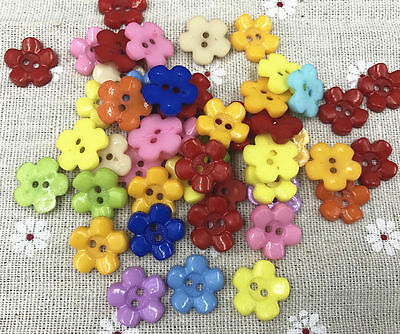 50pcs Resin buttons Mixed color Sewing Scrapbooking 2-Holes Flowers 15mm