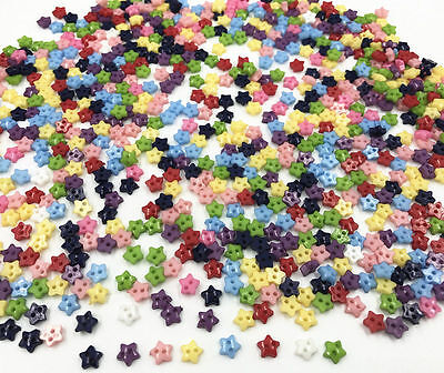 200X Mixed Colors star shapes Resin Buttons 2 holes sewing scrapbooking 6mm