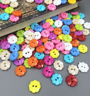 100Pcs Mixed Flower 2 Holes Acrylic Buttons fit Sewing and Scrapbooking 13mm