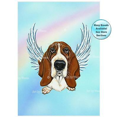 Basset Hound Angel Art Print Dog Memorial Pet Loss Gift Dog With Angel Wings