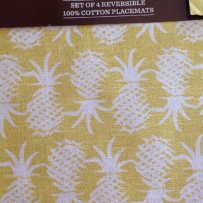"""x4 Tommy Bahama Pineapple Reversible Placemats Pop Yellow 13""""x19"""" Set Cotton NEW"""