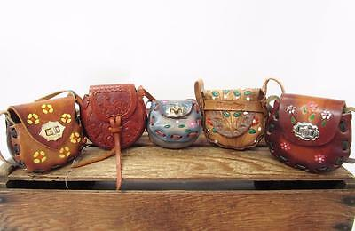 LOT ASSORTMENT Mini Child Tooled Leather Saddle Bag Cowgirl Birthday Party Favor