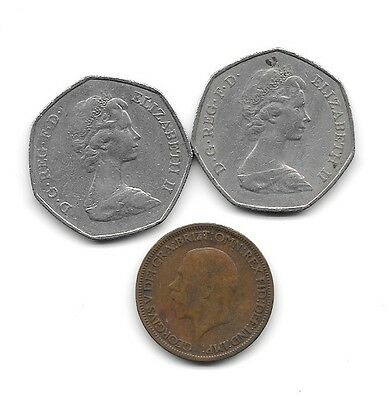 Lot of 3 Great Britain Coins. 1-Half Penny, 2-50 Pence in used cond. 1931&2-1973