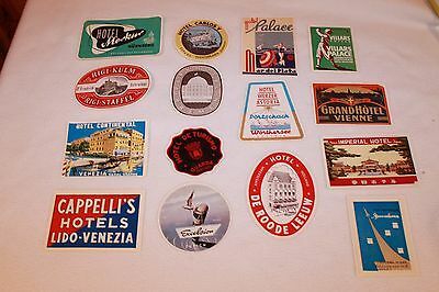 Vtg Lot Of 15 Luggage Decal European Hotel Souvenirs Unused Stickers Travel