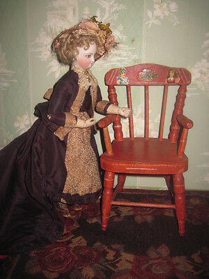 Sale! Charming Antique Miniature Red Stenciled Wooden Doll Chair With Diecuts!