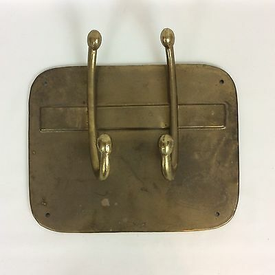 Brass Coat Robe Hooks Wall Mount Plate Vtg Mid Century MCM Patina Made In India