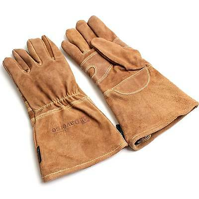 BBQ Barbeque Leather Gloves Oven Glove Grill Heat Fire Protection 1 Pair