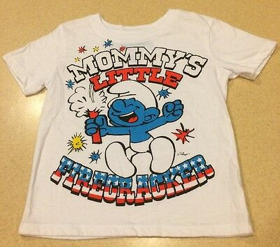 NWOT Unisex 5T Boys Or Girls Smurf T-Shirt 4th Of July Independence Day Shirt