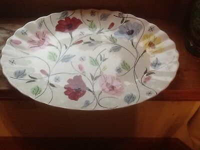 """Blue Ridge Chintz 11 1/2"""" Oval Platter Southern Pottery Colonial Unmarked"""