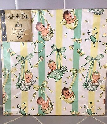 Vintage Gibson Flat Gift Wrap Wrapping Paper Rock A Bye Baby New