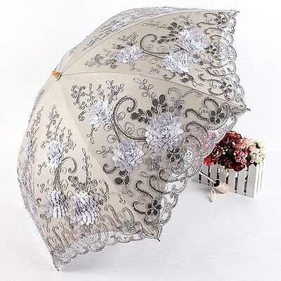Women Parasol Delicate Lace Foldable Umbrella Lady Summer Outdoor Anti UV Tool