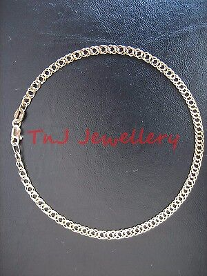 NEW Genuine 9 ct 9k Solid Yellow Gold Oval Double Curb Diamond Cut Ladies Anklet