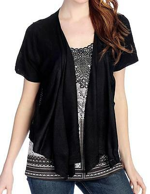 NEW - One World Micro Jersey Knit Flutter Sleeved Embellished Top & Cardigan Set