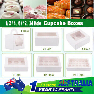 White Cupcake Box Cases 1/2 hole 4 hole 6 hole 12 hole 24 hole Window Face Gift