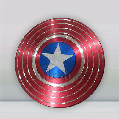 Hand Fidget Finger Spinner EDC Focus Captain America Shield Metal Stress Toy