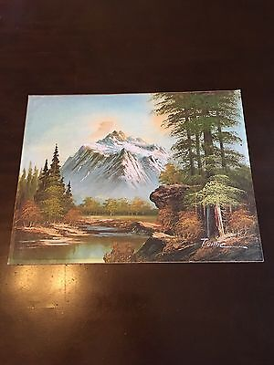 """Oil Painting On Board, Mountain Landscape, Signed, 14""""X11"""", Unframed"""