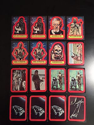 Vintage 1977 Topps Star Wars Series 2 Red, Complete Set, 16 Sticker Lot, NM !