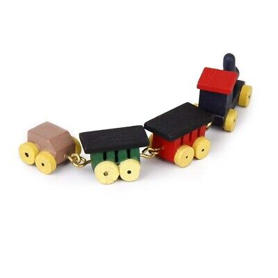 1/12 Doll house Miniature Wooden Carriages and Train Toy Set F7W3