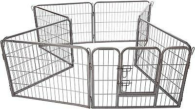 OxGord 8 Panel Metal Fence with Anchors Heavy Duty Pen Tube Door for Pets,...
