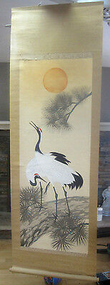 """Vintage CHINESE HANGING SCROLL Two Cranes, Sun Set  59"""" x 19 3/4"""""""