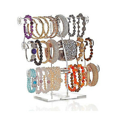 New! Deluxe 3 Tier Acrylic Bracelet Tree - T-Bar Clear Jewelry Display Stand