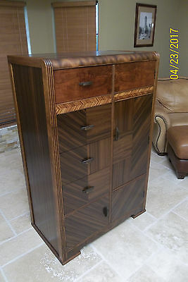 Vintage Art Deco Armoire Cedar Lined Closet and Shoe Comp All Orig